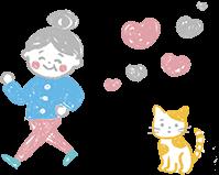 お婆ちゃんと猫のイラスト